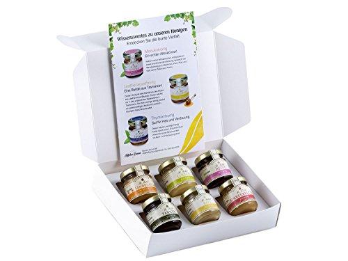 Honig Geschenk-Set 'Regional' - 6 Honige aus der Region - Heide-Honig, Himbeerblüten-Honig, Linden-Honig, Raps-Honig, Tannen-Honig, Sanddorn-Honig (6 x 50g)