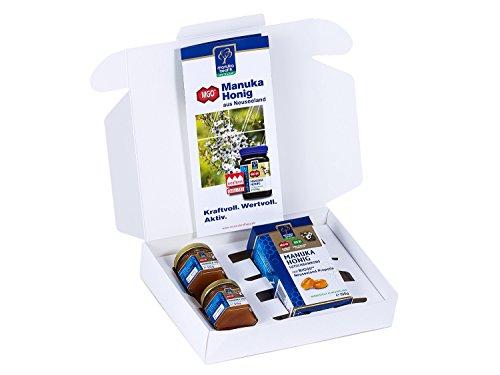 Manuka Health Geschenk-Set Manuka Honig 2 Probiergläser und Lutschbonbons Propolis (200 g)