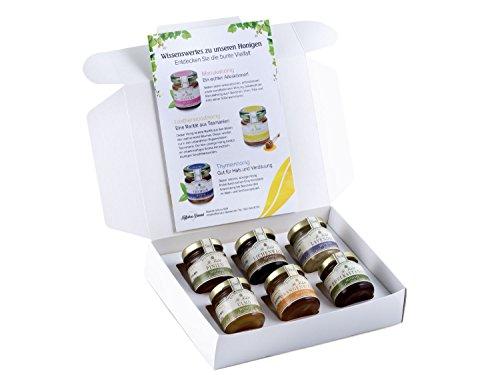 Honig Geschenk-Set 'Seltene Kostbarkeiten' - 6 markante Honige - Orangenblüten-Honig, Lavendel-Honig, Edelkastanien-Honig, Eichenwald-Honig, Ulmo-Honig, Pinien-Honig (6 x 50g)