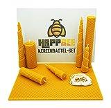 HappBee Bienenwachs-Kerzen Bastel-Set mit Bienenwachsplatten und Docht für honiggelbe, duftende selbstgemachte Bienenwachskerzen | DIY-Geschenk-Set