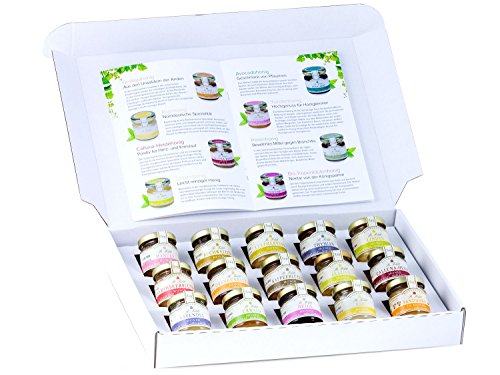 Honig Geschenk-Set '15 Sorten aus aller Welt', mit Manuka-Honig, Buchweizen-Honig, Leatherwood-Honig und Thymian-Honig (15 x 50g)