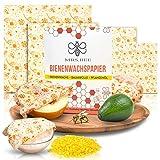 Mrs. Bee Wachstücher für Lebensmittel 4er Set wiederverwendbares nachhaltig Wachspapier verschiedene Größen kostenloses Reparaturset