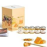 TRY Honig Geschenkset - Bekannt aus 'Die Höhle der Löwen' - die Verkostung mit fünf hochwertigen Honigen und einem 60-seitigen Booklet. Das perfekte Geschenk für alle Honig-Liebhaber!
