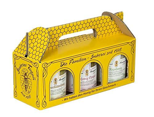 3x 250g Honig Probierset | Geschenkset – naturbelassen, Honig zum Kennenlernen in praktischer Geschenkbox aus Karton, enthält klassische Sorten (von Imkerei Nordheide)