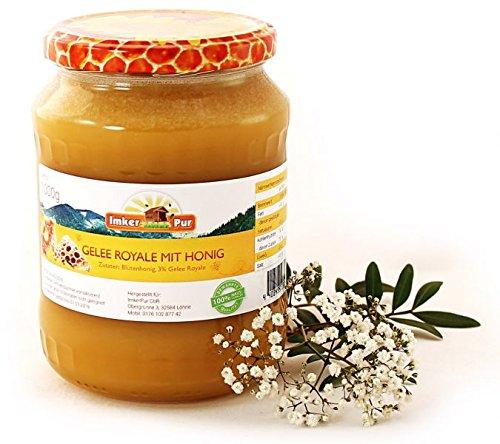 Honig mit frischem Gelee royal von ImkerPur®, 1000 g, kaltgeschleudert, das Wertvollste der Biene