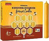 Brubaker 100er Pack Baumkerzen 100% Bienenwachs Weihnachtskerzen Pyramidenkerzen Christbaumkerzen Honig-Gelb