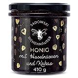 SADOWSKI BIENENHÄUSER Blüten-Honig mit Haselnüssen und Kakao | Natural Nektar von Premium Honig-Waben | Für Sandwiches, Haferflocken, Desserts, Smoothies und Tee | Cacao & Nut Honey | 410 g