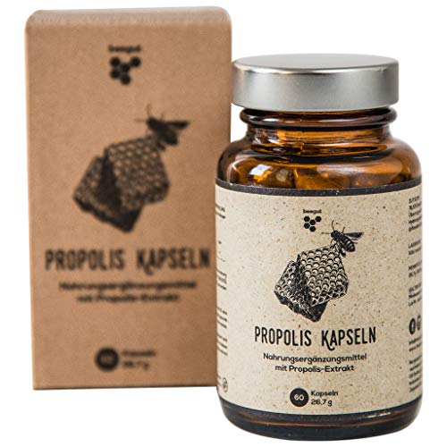 beegut Propolis Kapseln mit 350mg natürlichem Propolis Extrakt pro Kapsel, 60 Kapseln in pflanzlicher Kapselhülle, Hergestellt in Deutschland