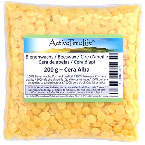 Bienenwachs Pastillen Bio, gelb, 200 g, für Kosmetik Kerzen Cremes Salben Seifen
