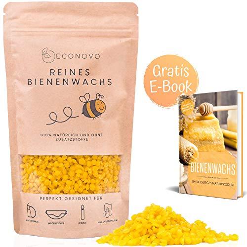 Econovo® 100% natürliches Bienenwachs ohne Zusätze - 500g gelbe Bienenwachs Pastillen vom Imker für Kosmetik, Bienenwachstücher, Kerzen, Holz- und Lederpflege (inkl. E-Book mit Rezepten)
