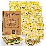 Valere + 7 Bienenwachstücher Bio - Wiederverwendbares Wachspapier für Snacks, Käse, Pausenbrote, Mittagessen, Obst - Aus Baumwolle, Zero Waste - Alternative zur Frischhaltefolie