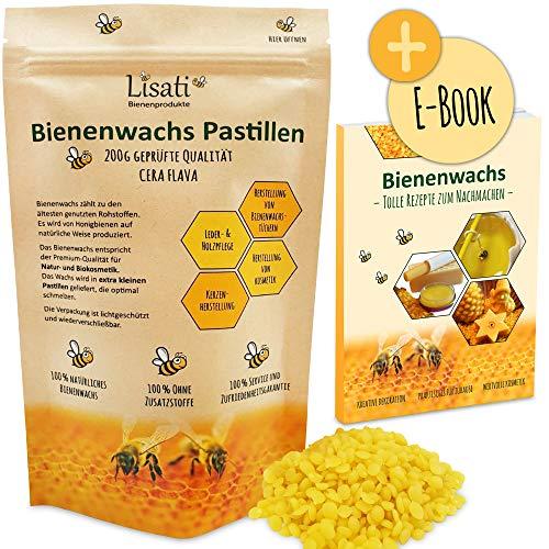 Lisati 100% natürliche schnell schmelzende Bienenwachs Pastillen vom Imker für die Herstellung Salben Seifen Kerzen 100g 200g im lichtundurchlässigen wiederverschließbaren Beutel für lange Haltbarkeit