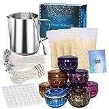 LIKEGOR Kerzen Herstellen Kit, DIY Kerzenherstellung Zubehör Geschenkset, Inklusive 500g Bienenwachs, Dochte, Blechdose, Dochthalter, Schmelztiegel, Rührlöffel