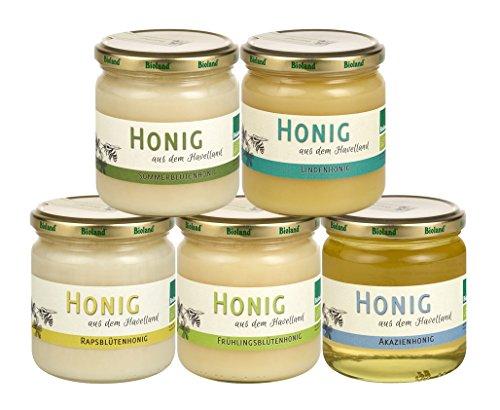 Bio Honig Probierset 5 x 250g aus dem Havelland ungefilterter und unbehandelter Bioland Honig von mild bis kräftig das ideale Geschenk von Blütenhonig bis Akazie ein Genuss