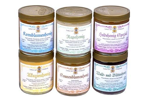 6x 500g Honig – Probierset   Geschenkset – naturbelassen, Honig zum Kennenlernen (von Imkerei Nordheide)