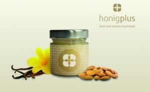Honigglas Produktfoto mit Mandel und Vanille