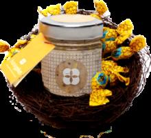 Osternest aus Reisig mit Mozartaufstrich